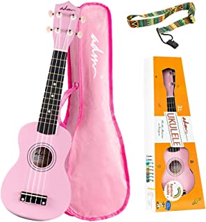 ADM Soprano Ukulele for Kids Beginners 21 Inch with Uke Starter Pack Kit, Gig Bag and Strap, Pink