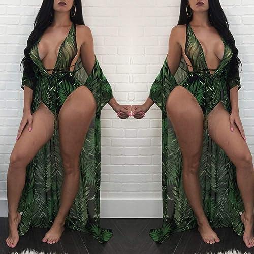 SHENGYUNPIO Lace Up Leaf Print One Piece maillot de bain+plage Cover Up Set femmes maillot de bain Set Female Bathing Suit