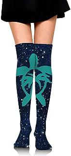 Nice-Guy, Calcetines hawaianos de las mujeres de la palmera y la tortuga de mar de las mujeres Medias altas del muslo sobre la rodilla Medias altas