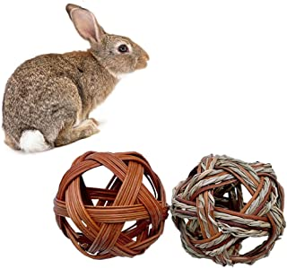 Licogel Rabbit Feeder Ball Grass 2PCS Handmade Versatile Universal Natural Hollow Rabbit Hay Ball Rabbit Cage Toy Hay Rack...