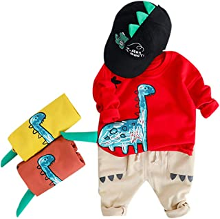Matoen Childrens Kids Boys Sweatshirt Cartoon Dinosaur Tops Jeans Long Pants Trousers Outfits Two Piece Set 12M-3Y