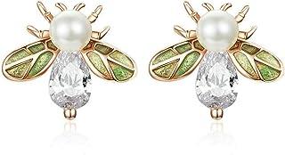 Tauzveok Abeille Mignonne Animal Argent 925 Boucles d'oreilles en Or Rose plaqué Femme Bricolage Perles Shell Boucles d'or...