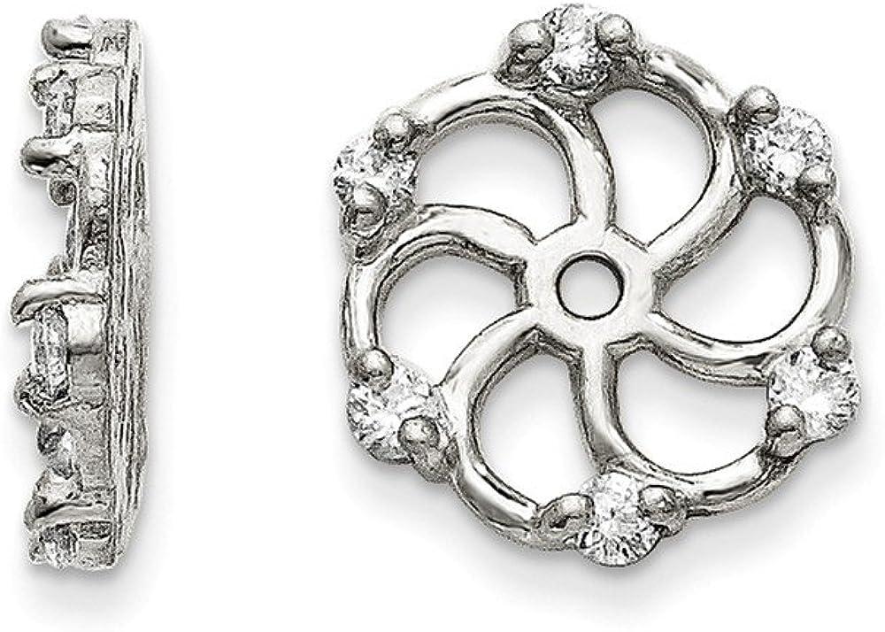 FB Jewels Solid 14K White Gold Vs Diamond Earring Jacket