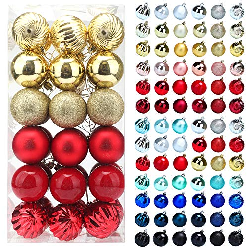 Christmas Balls Ornaments for Xmas Tree, 36ct Plastic Shatterproof Baubles Colored and Glitter Christmas Party Decoration 2.4inch Set (Red & Gold, 2.4 inch)