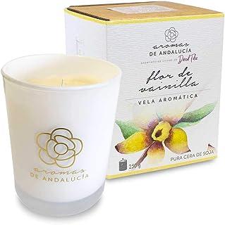 AROMAS DE ANDALUCIA, Vela Aromática, Cera de Soja, 100% Natural, Flor de Vainilla, Cristal, 250 gr, Regalo Relajante (Flor de Vainilla, 250)