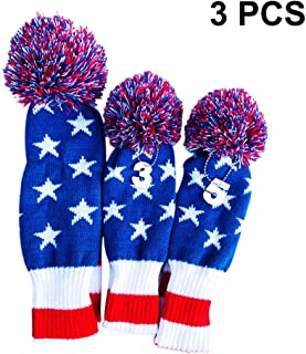 Ingeniously Golf Club Knit Hybrid American Flag Head Cover 3 PC/Set Knitting Golf Clubs Headcover Head Cover Driver Fairway Wood Head Covers Knitted Golf Club Head Cover Suministros de Golf