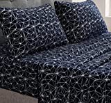 Nikazz 4 Piece Ultra-Soft Queen Fleece Sheet Set, Geometric Pattern Print, 100% Polyester Bedding Sheet Set, Suit for All Season, Cozy Warmth , Flat Sheet, Fitted Sheet and Pillow Shams ( Navy)