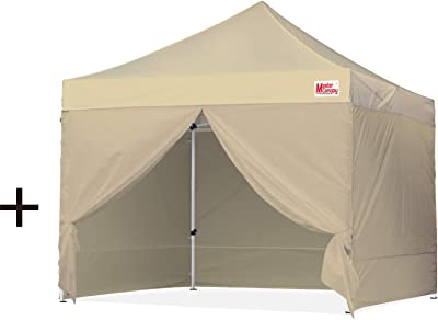MASTERCANOPY Pop-up Commercial Canopy with 4 Removable Sidewalls (10'x10', Beige) + MASTERCANOPY Pop-up Instant Canopy (10'x10', Khaki)