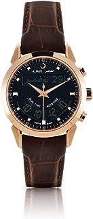 الفجر ساعة سويسرية رسمية رجال، انالوج-رقمي، جلد طبيعي، برونزي، مينا أسود WA-10B