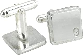 Square Cufflinks with '9' Engraved - 9th Anniversary