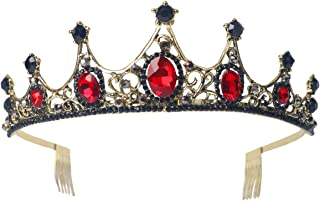 Sppry Women Tiara with Comb - Vintage Crystal Crown for Bridal Queen Girls at Wedding Birthday Pageant (Bronze-Red)