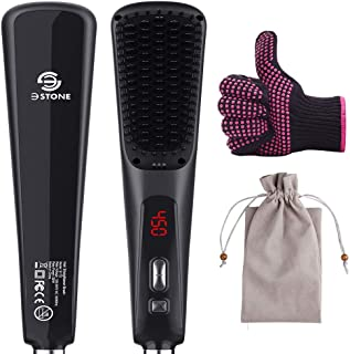 3Stone Ionic Hair Straightener Brush, Anti-Scald Hair straightening Comb with 30s Fast MCH Ceramic Heating, 15 Adjustable Heat Settings,One-Step Hair Dryer & Volumizer& Styler
