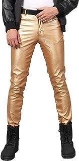 Men`s Business Slim Fit Five Pockets Faux Leather Pants Jeans