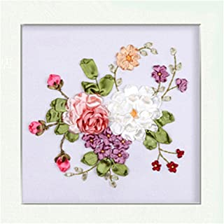 Egoshop Silk Ribbon Embroidery Spring Flower blooming Kit Eight Couplet Painting X5004A DIY Wall Decor Stamp Silk Ribbon Embroidery Kit With English Instruction (No Frame)