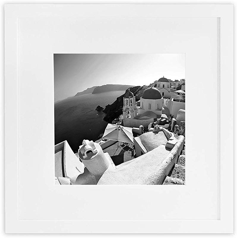 Golden State Art Smartphone Instagram Frame Collection 12x12 Inch Square Photo Wood Frames With Photo Mat Real Glass For 8x8 Inch Pictures White