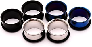 Mystic Metals Body Jewelry Set of 3 Pairs Single Flare Steel Tunnels (Black, Blue, Steel)
