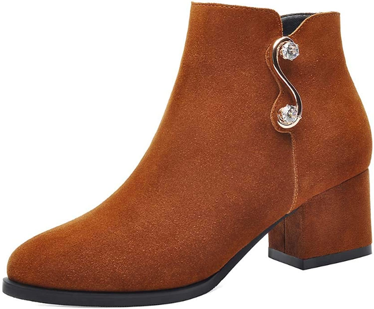 Women Ankle Boots,Chunky Zipper Short Thick Boot Footwear Suede Round Toe Ankle shoes,Zipper Chelsea Boots