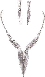 Rosemarie Collections Women's Simply Stunning Rhinestone Fringe Jewelry Set