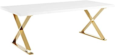 "Modway Sector 87"" Modern Dining Table with Gold Stainless Steel Metal X-Base in White Gold"