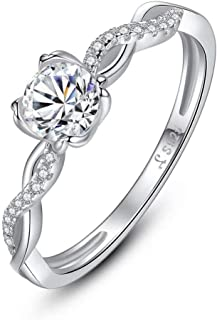 4 Prong CZ Solitaire Ring 925 Sterling Silver Cubic Zirconia Promise Engagement Wedding Anniversary Infinity Ring for Women