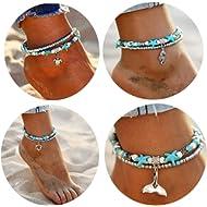 Starain Blue Turtle Anklets for Women Girls Multilayer Beads Handmade Beach Ankle Bracelet Set...