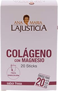 Ana María LaJusticia Collagen with Magnesium Strawberry Sticks, 20 Bars - Joint Supplements - Muscle