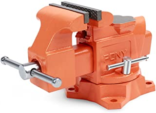 PONY 4-inch Heavy Duty Bench Vise - Jaw Width 4-inch, Throat Depth 2-5/8-inch, Shop Vise with Swivel Base