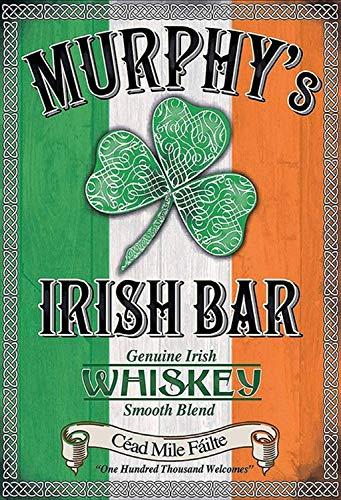 Murphys Irish Bar Whiskey Ierland klaverblad metalen bord bord bord gebogen metalen plaat metaal tin teken 20 x 30 cm