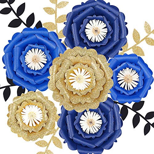 Fonder Mols Large 3D Paper Flowers Decorations for Wall (Navy Blue Gold, Set of 6) for Royal Blue Baby Boy Shower, First Nautical, Shark Birthday Party Photobooth Backdrop(NO DIY)
