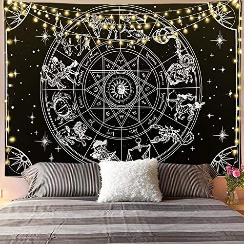 KHKJ Astrología Sol Luna Bergamota Tapiz Colgante de Pared Decoración de brujería Dormitorio Celestial Tapiz psicodélico Tela A10 95x73cm