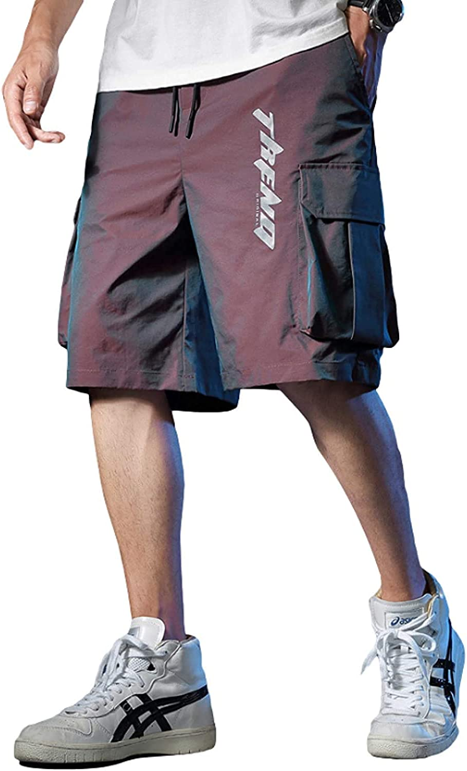 Men's Relaxed Reflective Cargo Shorts Fashion Trend Streetwear Stitching