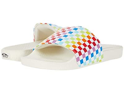 Vans Kids Slide-On (Little Kid/Big Kid) ((Checkerboard) Rainbow/Marshmallow) Girls Shoes