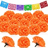 74 Pieces Marigold Flower Mexican Party Banners Plastic Papel Picado Banner Artificial Marigold Flowers Mexican Day Dead Decoration for Papel Picado Fiesta, Cinco De Mayo, Mexican Independence Day