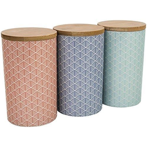 Nicola Spring Vorratsdosen für Tee/Kaffee/Zucker - Porzellan - geometrisches Muster - 3 Designs - 3 Stück