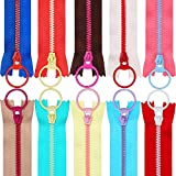 TecUnite 20 Pieces Plastic Resin Zippers with Lifting Ring Quoit Colorful Zipper for Tailor Sewing Crafts Bag...