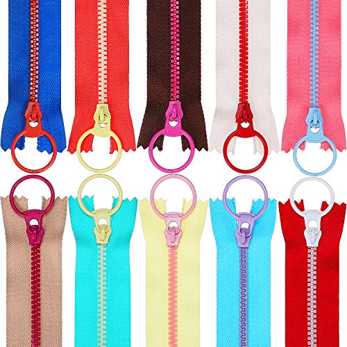 TecUnite 20 Pieces Plastic Resin Zippers with Lifting Ring Quoit Colorful Zipper for Tailor Sewing Crafts Bag Garment (12 Inch)