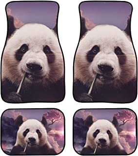 Salabomia 4 Piece Universal Floor Mats for Cars All Weather Durable Car Rug All Weather Protection Rubber Carpet for Car Interior, Easy Clean Cute Panda Pattern