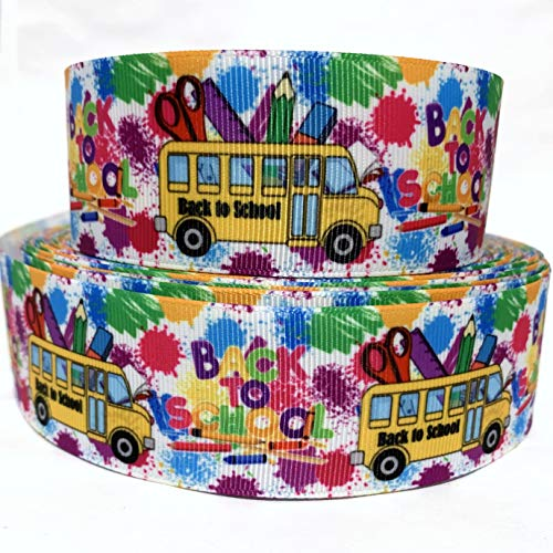 Grosgrain Ribbon 1.5' Crayons Back to School Bus Pencils Kids - White - Black - Yellow - Red - Blue - Green - Pink - Gold - B3S - Printed Per Yard
