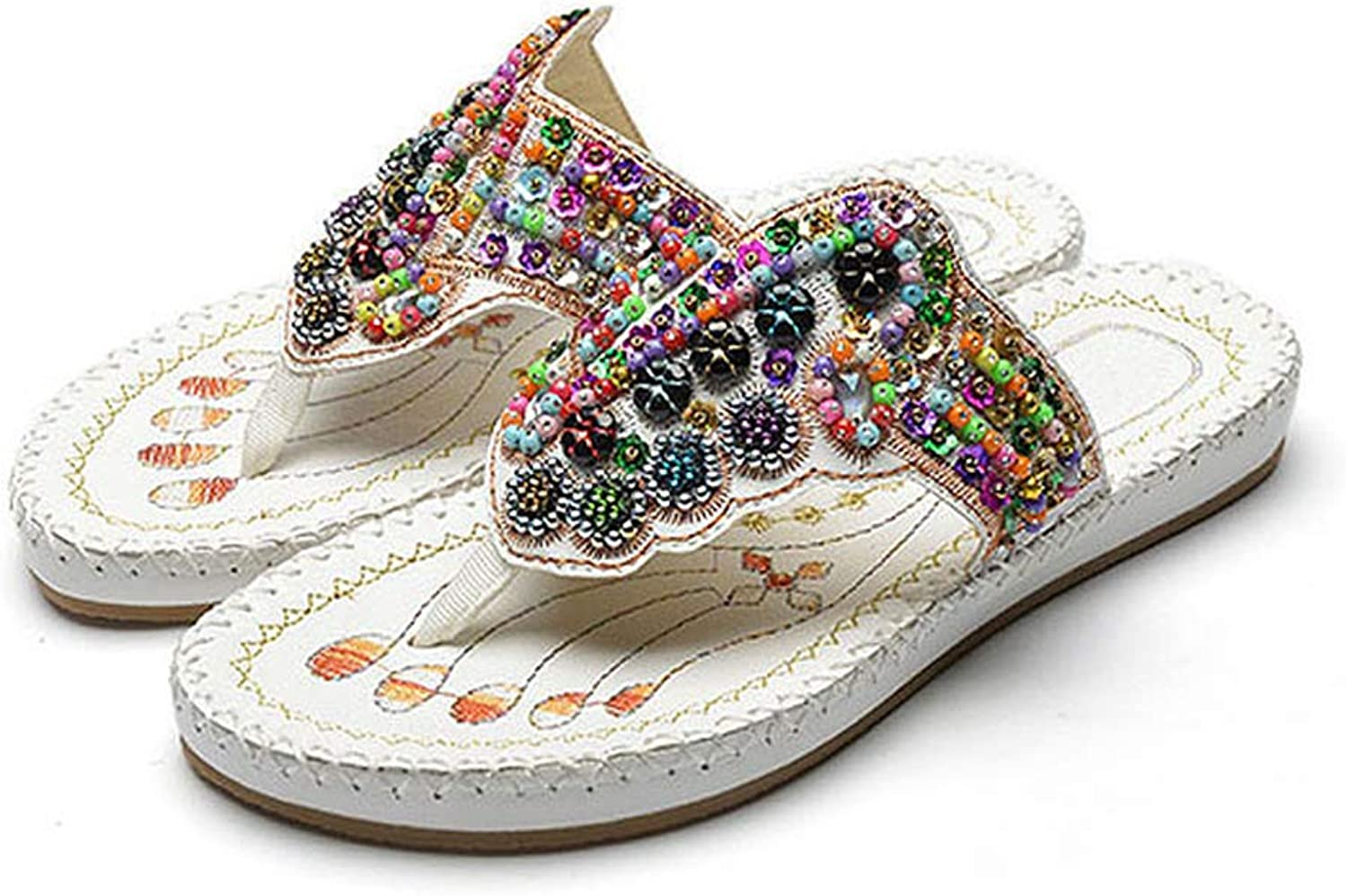 Hoxekle Woman Retro Bling String Beads Bohemian Slide Flatform Flat Flip Flops Casual Antislip Outdoor colorful Sandals