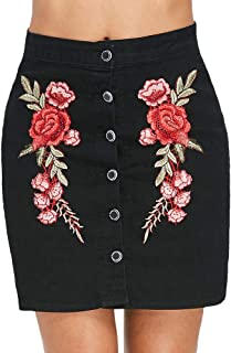Embroidered Buttoned Mini Skirt women