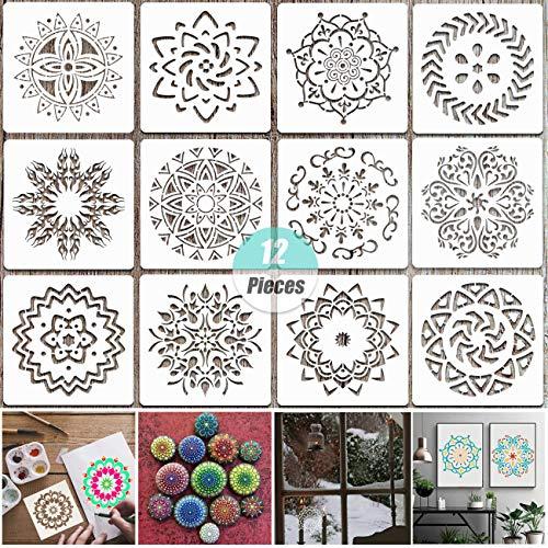 YuChiSX Wiederverwendbare Mandala-Schablonen-Set mit 12 Stück, Lasergeschnittene Malvorlage Malschablone für DIY Dekor, Malen auf Holz, Airbrush, Felsen und Wände (14 x 14 cm / 5,5 x 5,5 Zoll)