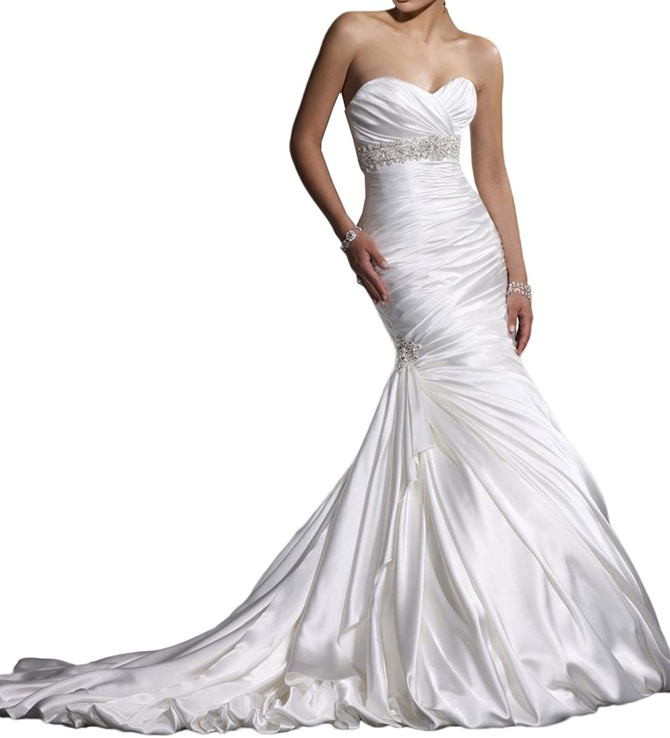 Avril Dress Mermaid Strapless Sweetheart Cathedral Beading Wedding PromDress