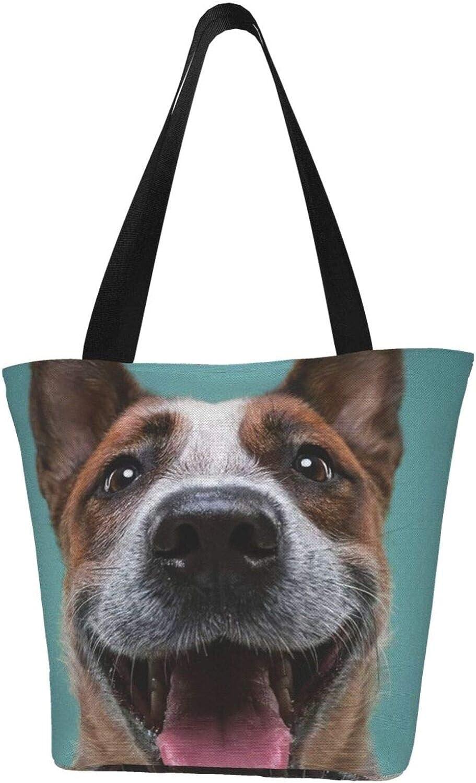 Funny Theme Dog Face Themed Printed Women Canvas Handbag Zipper Shoulder Bag Work Booksbag Tote Purse Leisure Hobo Bag For Shopping
