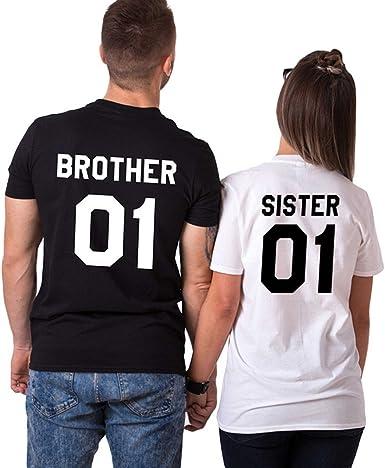 Tomwell Amante Pareja Camiseta Casual Impresa Tops T-Shirt Brother Sister Emparejar Divertido Manga Corta Camisa Hombre Mujer Moda Blusa