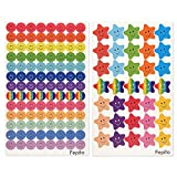FEPITO 10 Hoja 695 Unids Smiley Happy Face Pegatinas y Smiley Star Pegatinas para Profesores, Padres Niños Artesanía Scrap Books Decoración, Multi Color