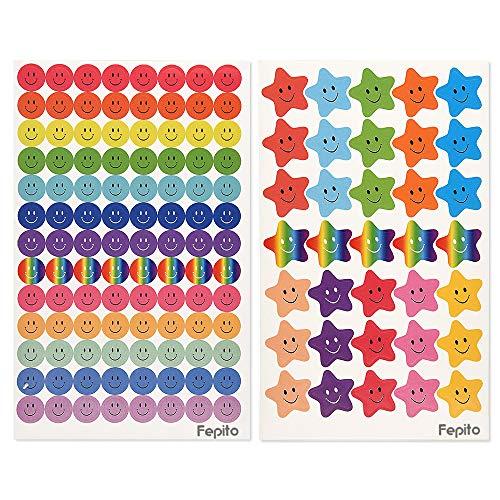 FEPITO 10 Blatt 695 Stück Smiley Happy Face Aufkleber und Smiley Star Aufkleber für Lehrer, Eltern Kinder Craft Scrap Books Dekoration, Multi Color