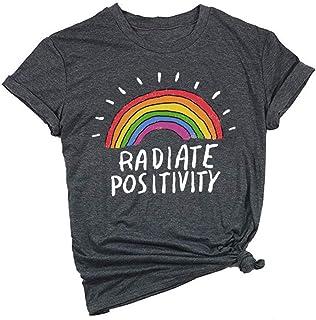 UNIQUEONE Women Radiate Positivity Rainbow T-Shirt Funny Letter Printed Rainbow Graphic Tee Summer Short Sleeve Shirts Top...
