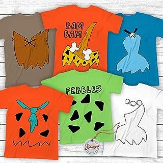 Bam-Bam-Betty-Barney-Wilma-Fred-Pebbles 6 Costume Halloween Funny Family Matching Pajamas Customized Handmade Hoodie/Sweater/Long Sleeve/Tank Top/Premium T-shirt