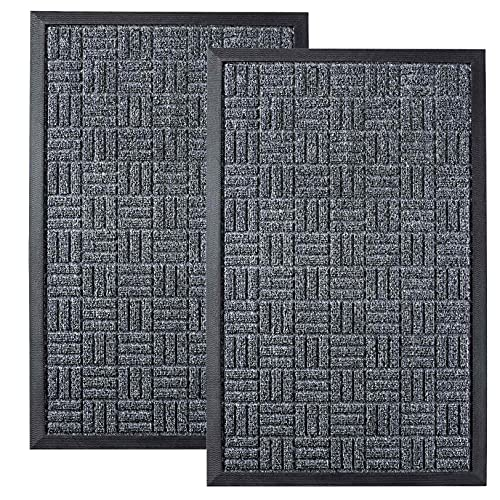 HOMWE Front Door Mats, 2 Pc Set, 29.5 x 17, All Weather Entry and Back Yard Door Mat, Indoor and Outdoor Safe, Slip Resistant Rubber Backing, Absorbent and Waterproof, Dirt Trapping Rugs for Entryway
