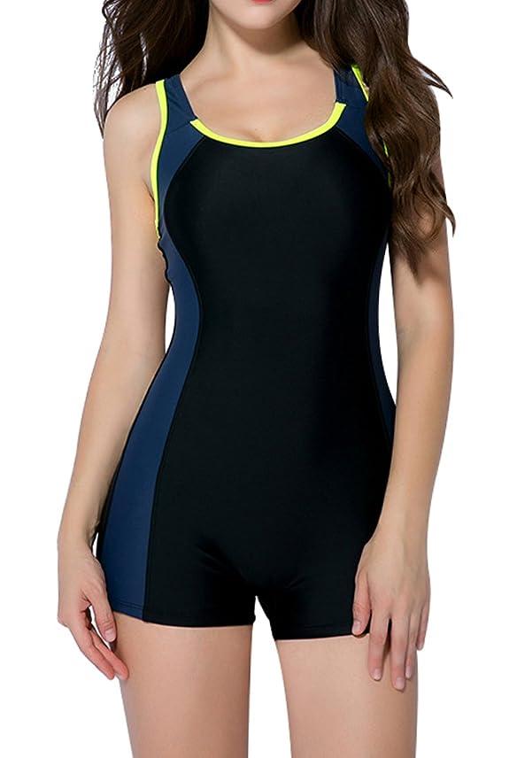 フルーツ野菜お母さん社員Attraco女性スポーツワンピース水泳衣装Boyleg水着レーサーバック水着イエロー
